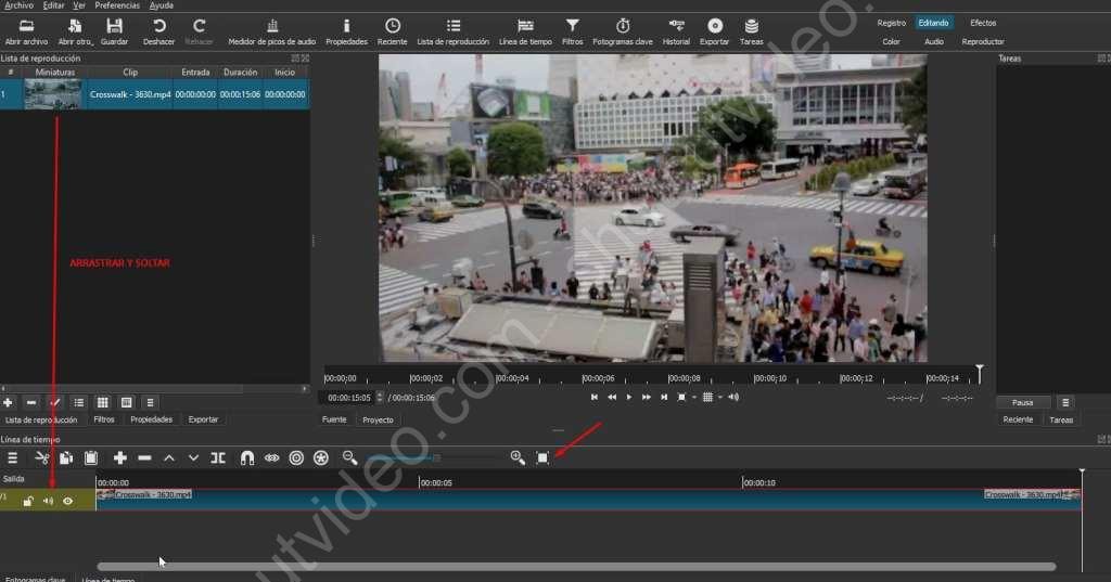 Recortar vídeo en Shotcut, paso 1, arrastrar clip a la línea de tiempo