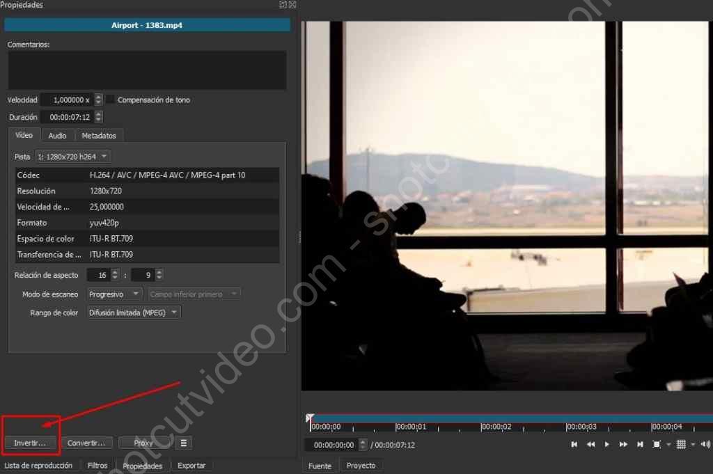 Loop en Shotcut - invertir el vídeo