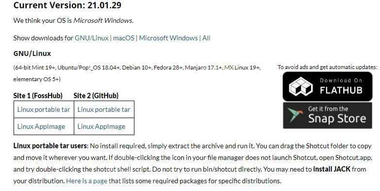 Enlace de descarga de Shotcut para Linux