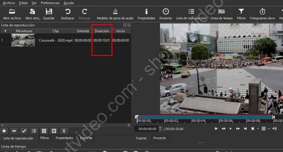 Recortar clip de vídeo en Shotcut