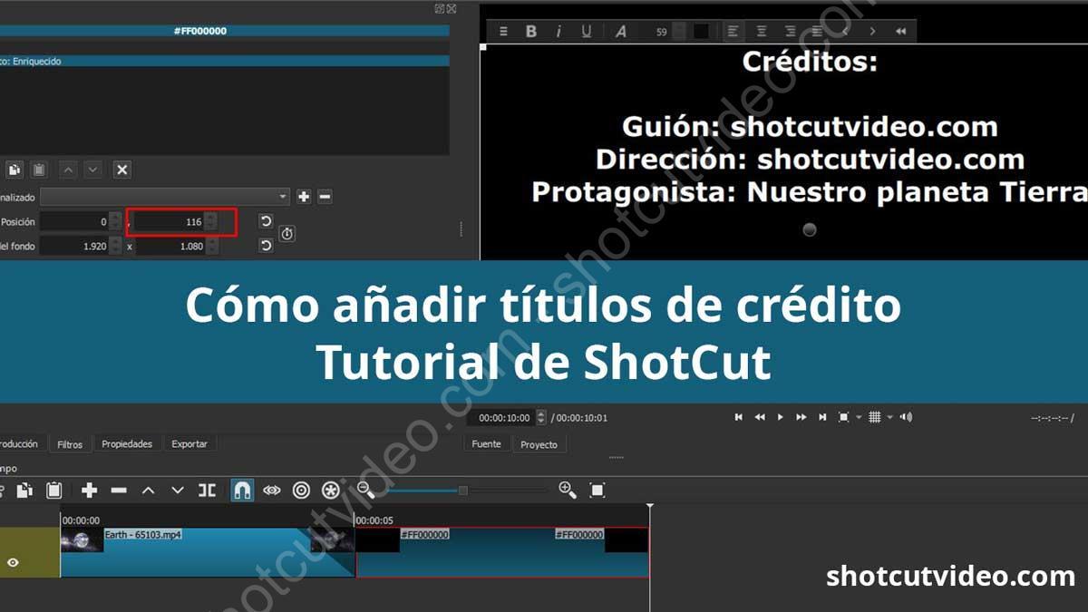 Cómo hacer títulos de crédito en Shotcut